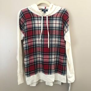Chaps NWT Plaid Lightweight Hoodie Size L